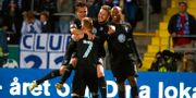 Malmöjubel efter Lasse Nielsens 1–2-mål mot IFK Norrköping på Östgötaporten. Stefan Jerrevång/TT / TT NYHETSBYRÅN