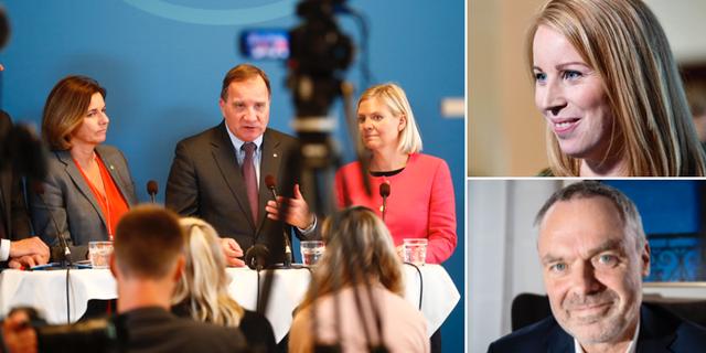 Isabella Lövin (MP), Stefan Löfven (S) och Magdalena Andersson  (S) håller presträff/C-ledaren Annie Lööf/dåvarande L-ledaren Jan Björklund. TT