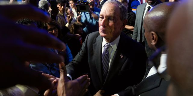Michael Bloomberg på ett väljarmöte.  Go Nakamura / TT NYHETSBYRÅN