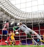 Lindahl i målet för Atlético Madrid. Javier Soriano / TT NYHETSBYRÅN