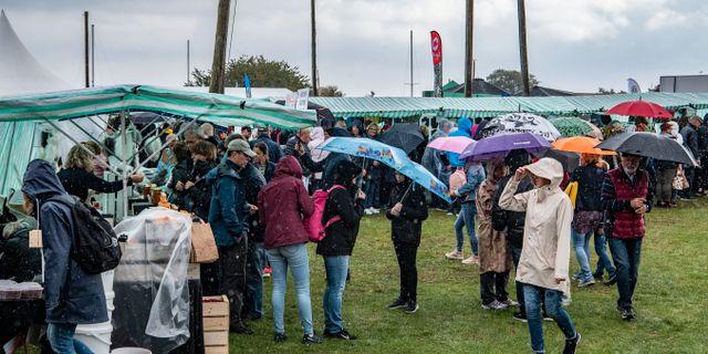 Arkivbild: En regnskur över marknadsstånden på Äppelmarknaden i Kivik Johan Nilsson/TT / TT NYHETSBYRÅN