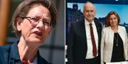 Gudrun Schyman (Fi), V-ledaren Jonas Sjöstedt och MP-språkröret Isabella Lövin  TT