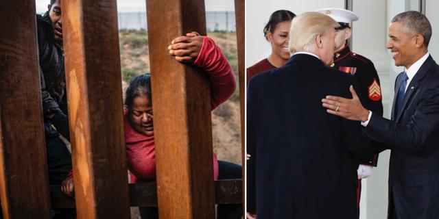 Latinamerikanska migranter försöker ta sig över gränsen till USA, bilden är från Tijuana den 27 december/Paret Obama och paret Trump vid presidentens tillträde. TT