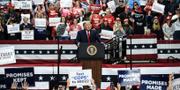 Donald Trump på ett kampanjmöte i North Carolina. TT
