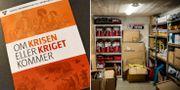 Vänster: Broschyren som skickas ut till Sveriges hushåll. Höger: Överlevnadsutrustning. TT
