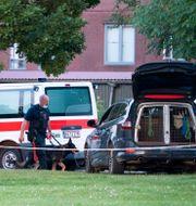Dansk polis efter skjutningen förra året.  Johan Nilsson/TT / TT NYHETSBYRÅN