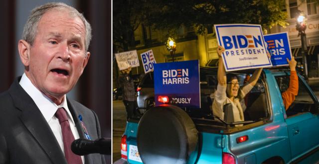 George W Bush och jubel efter Bidens seger. TT