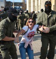 Protest i Belarus på lördagen. TT NYHETSBYRÅN
