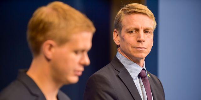 Gustav Fridolin och Per Bolund.  Alexander Larsson Vierth/TT / TT NYHETSBYRÅN