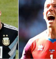 Lionel Messi och Hannes Halldorsson. TT
