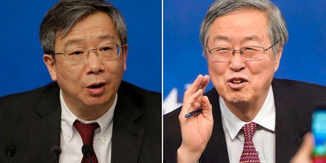 Yi Gang och företrädaren Zhou Xiaochuan. Arkivbilder. TT