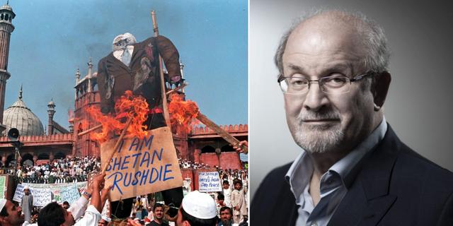 Protester mot Rushdie −99 (t v), Rushdie 2018 (t h). TT