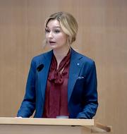 Ebba Busch i partiledardebatten. SVT