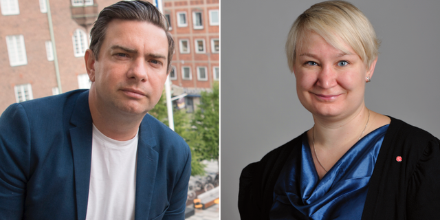 Socialdemokraterna Jimmy Jansson och Elin Lundgren.  TT