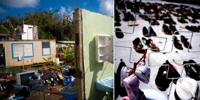 Ett hus som förstördes i orkanen samt ett minnesmärke efter dem som dog. TT
