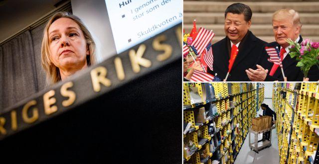 Illustrationsbilder: Riksbankens Cecilia Skingsley, Xi och Trump, Amazon-anställd hanterar varor som köpts på Cyber Monday. TT