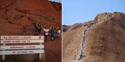 Människor vandrar Uluru för sista gången. TT