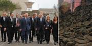 Storbritanniens prins Charles under högtiden/Högen med skor i Auschwitz. TT