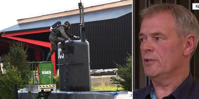 Polisens tekniker går ner i ubåten/Jens Møller vid Köpenhamnspolisen. TT/DR
