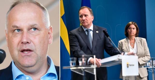 Jonas Sjöstedt/S-ledaren Stefan Löfven och MP-språkröret Isabella Lövin. TT