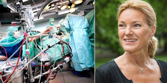 Till vänster: Hjärtoperation (arkivbild) till höger: Kristina Sparreljung. TT / Anna Molander för Hjärt-Lungfonden