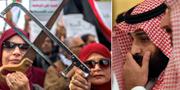 Demonstration för rättvisa i Khashoggi-fallet, sågarna är en symbol för att journalistens kropp tros ha styckats och förts ut från ambassaden/kronprins Mohammed bin Salman. TT