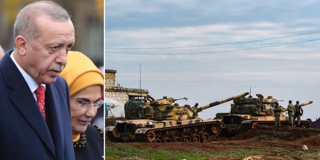 Erdogan till vänster, turkiska stridsvagnar i Idlibprovinsen till höger. TT