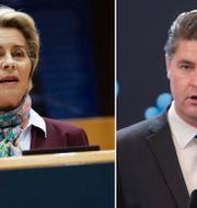 EU-kommissionens ordförande Ursula von der Leyen. Oscar Sjöstedt (SD).  TT