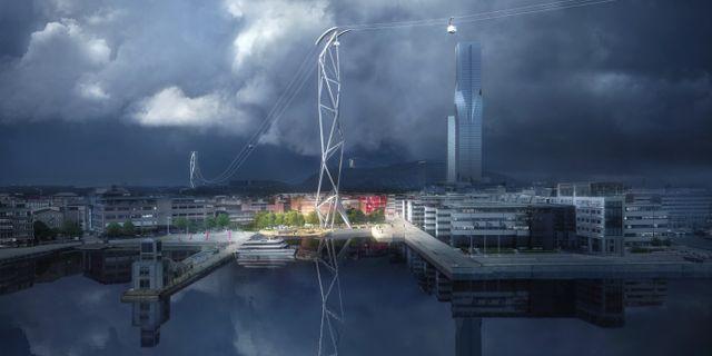 Illustration av det vinnande förslaget till hur linbanan ska se ut. Arkivbild. Illustration: UNStudio och Kjellgren Kaminsky