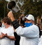 Protester mot nya nedstängningar i London. Frank Augstein / TT NYHETSBYRÅN