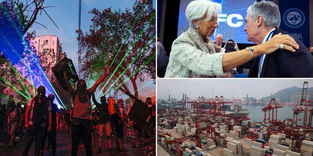 Protester i Chile, Powell och Lagarde och hamnen i Hongkong.  TT