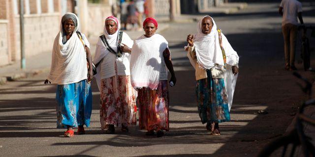 Kvinnor i Eritrea i huvudstaden Asmara. THOMAS MUKOYA / TT NYHETSBYRÅN