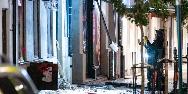 Byggnaden fick stora skador. Johan Nilsson/TT / TT NYHETSBYRÅN