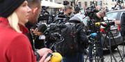 Pressuppbåd utanför rätten i Köpenhamn i dag. Johan Nilsson/TT / TT NYHETSBYRÅN