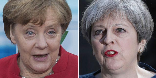 Tysklands förbundskansler Angela Merkel, Storbritanniens premiärminister Theresa May. TT