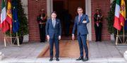 Italiens premiärminister Giuseppe Conte och Spaniens premiärminister Pedro Sanchez idag. Bernat Armangue / TT NYHETSBYRÅN