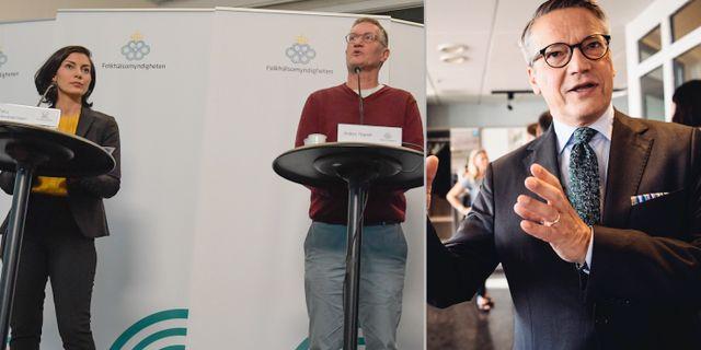 Från vänster, Socialstyrelsens Tata Alexandersson, Folkhälsomyndigheten Anders Tegnell och KD:s tidigare partiledare Göran Hägglund TT