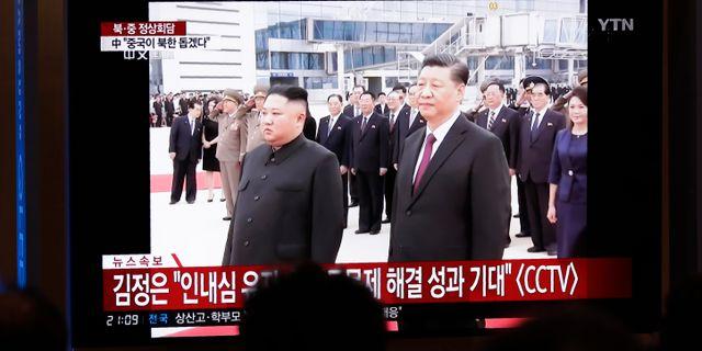 Xi i Nordkorea idag.  Lee Jin-man / TT NYHETSBYRÅN