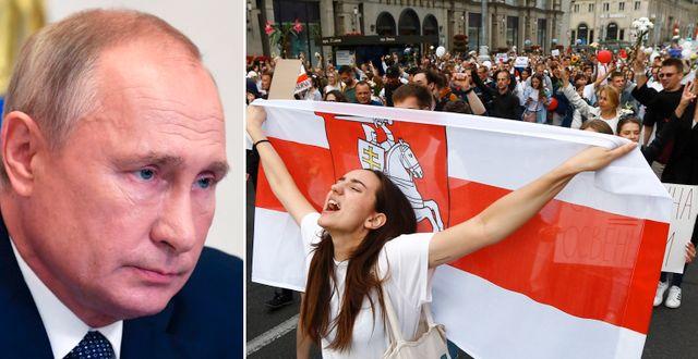 Vladimir Putin/Demonstranter i Minsk. TT