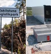 Bilder från området i Eskilstuna där Amazons förmodade lager förväntas ligga. TT