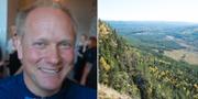 Peter Johansson och en vy över naturreservatet Hykjeberget i Dalarna. Wikipedia och TT
