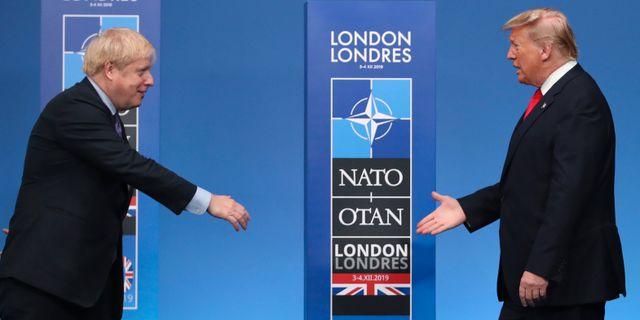 Storbritanniens premiärminister Boris Johnson, USA:s president Donald Trump. Francisco Seco / TT NYHETSBYRÅN