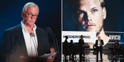 """Klas Bergling tar emot årets hederspris som tilldelats Tim """"Aviccii"""" Bergling under """"Grammisgalan på Cirkus tidigare i år. Arkivbild. TT"""