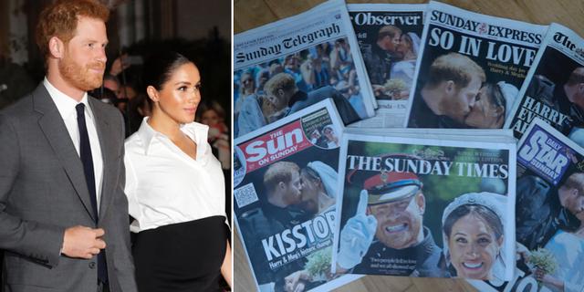 Prins Harry och Meghan Markle/prinsen och prinsessan på framsidan av brittiska tidningar efter parets bröllop. TT
