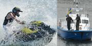 En vattenskoter och sjöpolisen.  TT