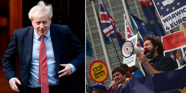 Boris Johnson/demonstranter protesterar mot brexit. TT