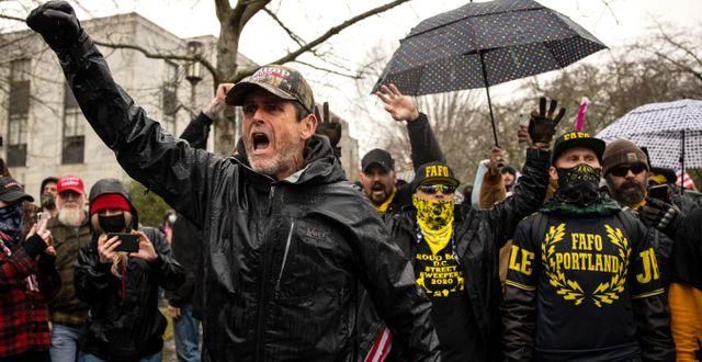 Bild från Kapitolium den 6 januari, då stormningen ägde rum. Paula Bronstein / TT NYHETSBYRÅN