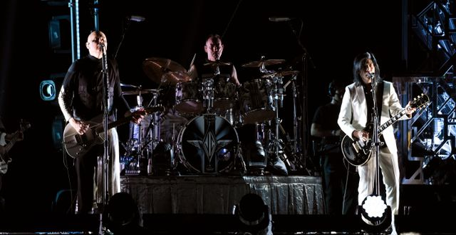 Billy Corgan, och Jimmy Chamberlin and James Iha. Chris Pizzello / TT NYHETSBYRÅN