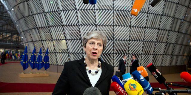 Storbritanniens premiärminister Theresa May.  Virginia Mayo / TT NYHETSBYRÅN