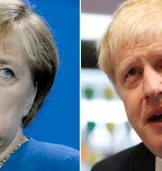 Angela Merkel och Boris Johnson.  TT.